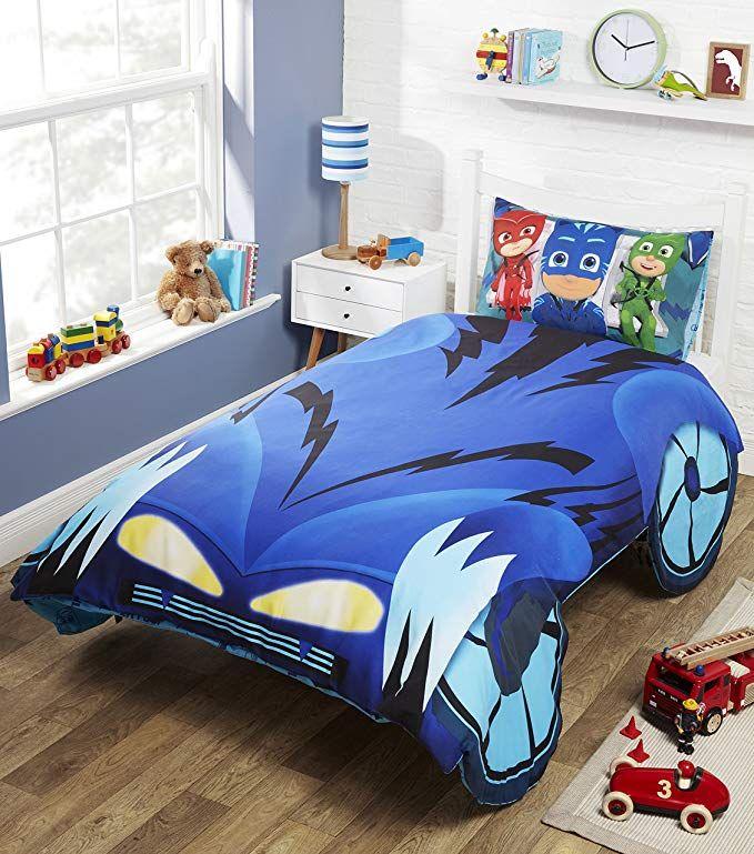 PJ MASKS BATTERY BEDSIDE LAMP LED LIGHT KIDS BEDROOM BLUE PORTABLE