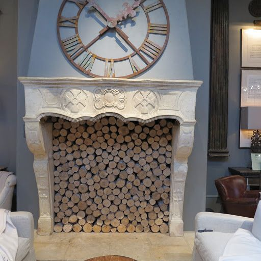 The Fireplace Was Lined With Birch Logs Restoration Hardware For The Home Pinterest The