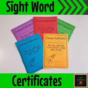 Sight Word Certificates - These Sight Word Certificates are designed to be used with these Sight Word Booklets. Students just love to receive their brightly coloured certificates once they can read and spell a set of sight words. All you need to do is print onto the correct coloured card or paper! {Kindergarten, 1st, 2nd, 3rd, 4th, 5th, 6th, 7th grade, home school}