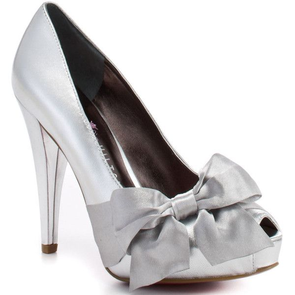 Paris Hilton Women's Destiny - Silver Metallic ($75) ❤ liked on Polyvore featuring shoes, pumps, heels, sapatos, scarpe, platform, open toe, stiletto heels, trendy and women