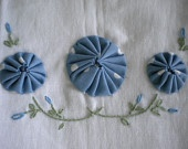 Hand Embroidery Dish Towel Set with fabric Yo Yos. $15.50, via Etsy.