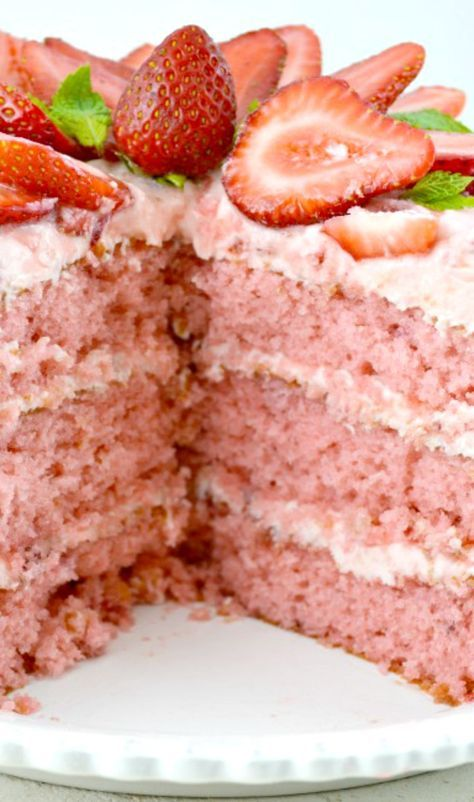 Amazing Triple Decker Strawberry Layer Cake with Strawberry Buttercream Frosting! _ It's wonderfully moist, very rich, and beautifully pink