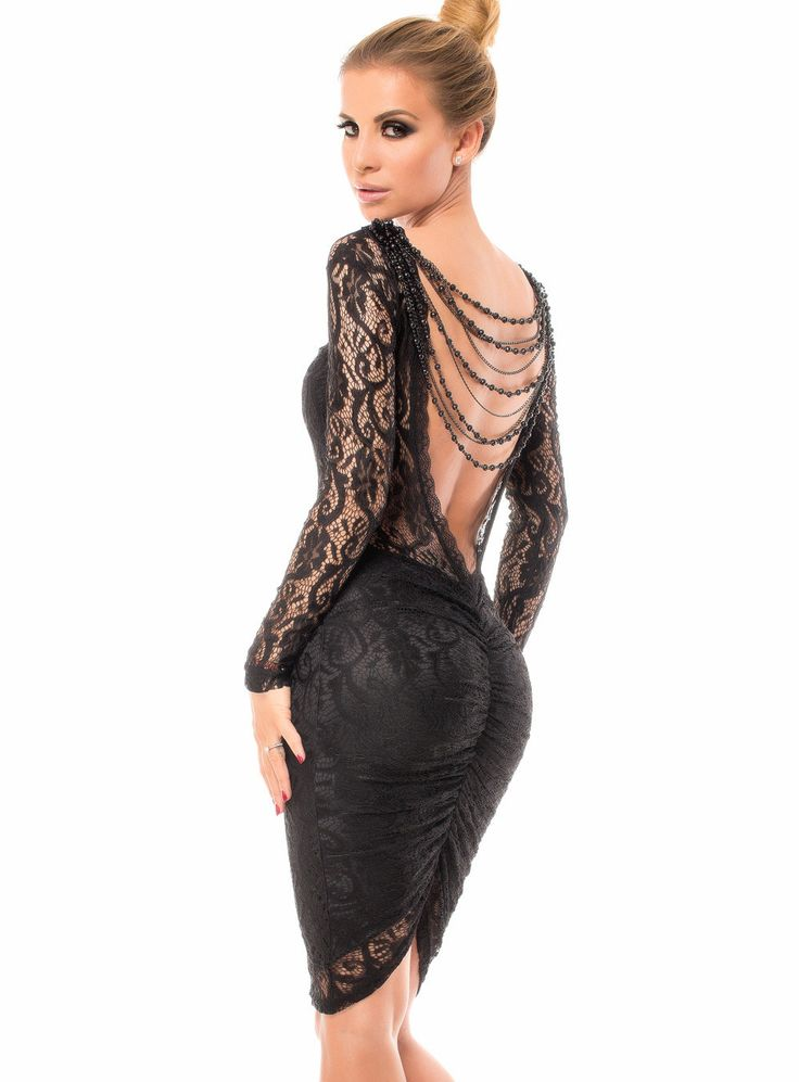 Sukienka koronkowa czarna elegancka