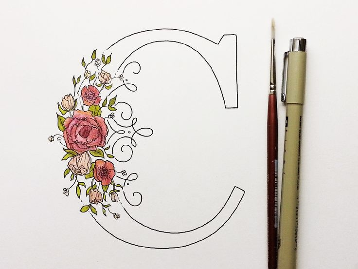 "Floral Drop Cap by Kelsey Phillips / monogram ""C"" / hand drawn / type / roses"