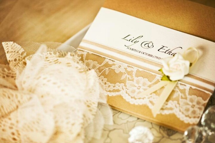 Gold and ivory lace invite