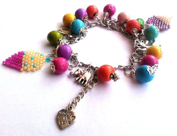 Charms Bracelet Summer Bracelet Ice Cream Charms by DeerestJewelry