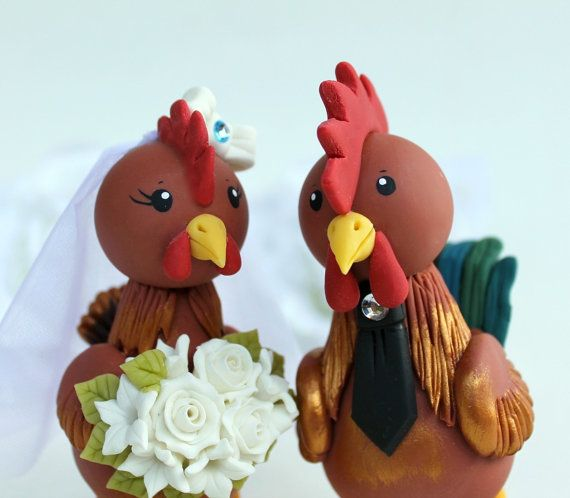 Rooster and hen wedding cake topper customizable by PerlillaPets