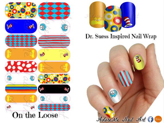 Jamberry Custom Design Sheet Nail Wraps Dr Suess Inspired #Jamberrydrsuess - Cat in the Hat, Lorax, Thing 1         --FREE *Current Wrap with $35 Order! -------- OR  -------FREE *Current Wrap AND 10% OFF with $50 order!