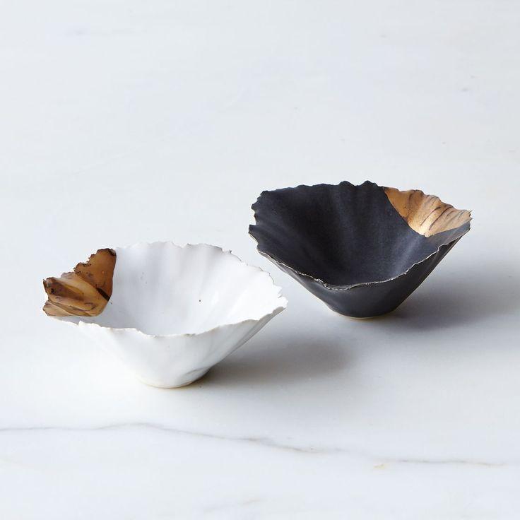 Gold-Dipped Seashell Pinch Bowls