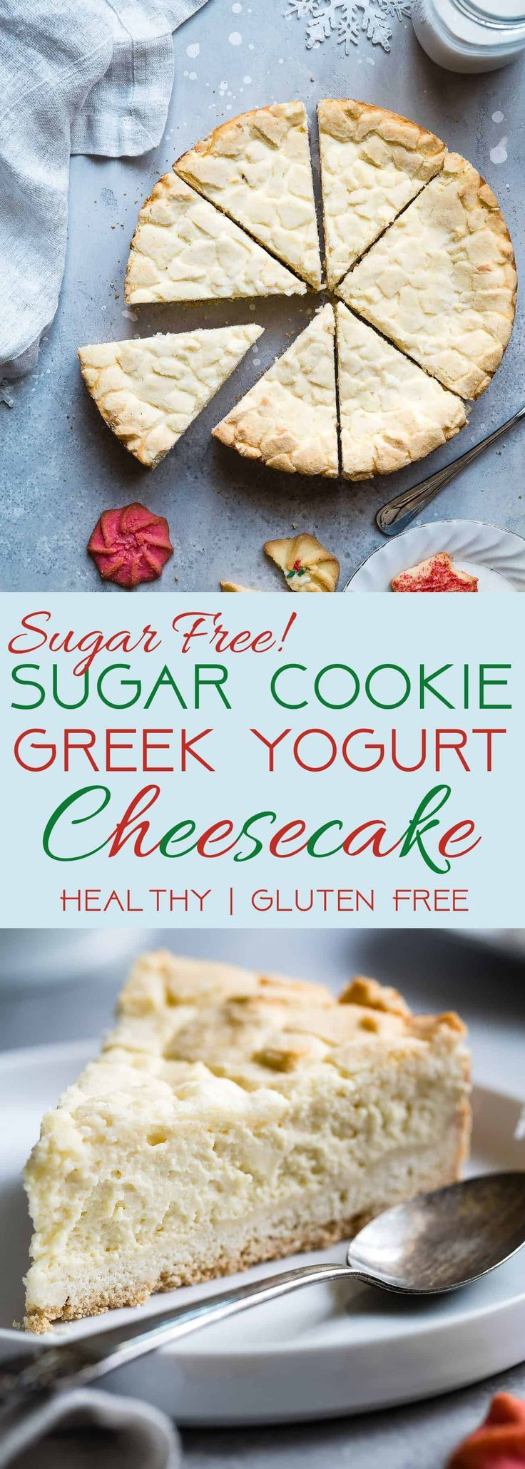 Sugar Free Greek Yogurt Cheesecake -This gluten free cheesecake is an easy dessert that combines 2 Holiday treats ! It's so creamy you won't believe it's healthy, sugar free and only 235 calories!   Foodfaithfitness.com   @FoodFaithFit