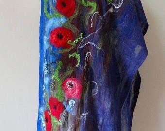 Gevilte abstractie Nunofelt sjaal rode sjaal blauwe sjaals voelde Nunofelt Nuno voelde Silk Silkyfelted, bloemen schilderij