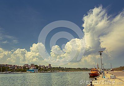 Port Dock With Cloudy Sky - Download From Over 24 Million High Quality Stock Photos, Images, Vectors. Sign up for FREE today. Image: 41275377