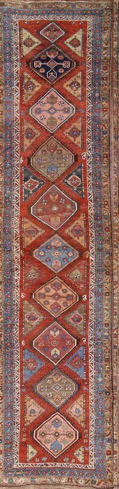 "Pre-1900 Antique Runner 3x14 Kazak Caucasian Russian Oriental Rug 14' 4"" x 3' 6"" #Caucasian"