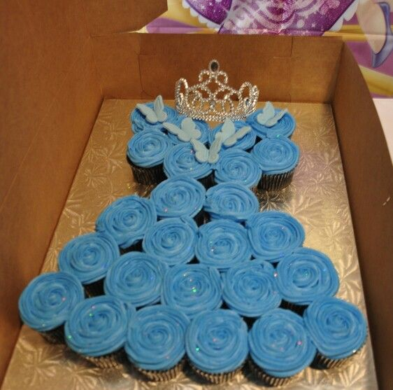 New Cinderella inspired cupcake dress with edible glitters for my little princess! So much easier than cake! :-)