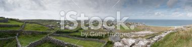 Panoramic View on Aran Island Seaside in Galway Bay Royalty Free Stock Photo