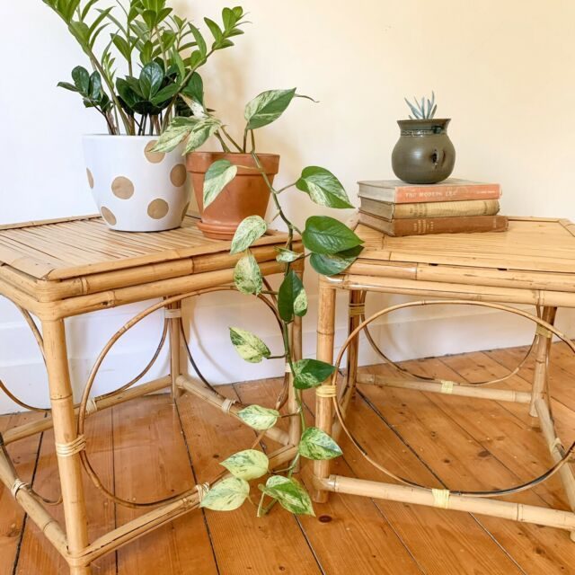 Vintage Bamboo Side Tables Cane Rattan Boho Coffee Tables Gumtree Australia Moreland Area Cob In 2020 Side Table Decor Living Room Side Table Bamboo Coffee Table