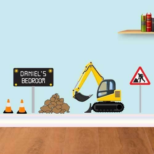 Personalised Digger Wall Sticker, Boys JCB Name Bedroom Men at work Sticker