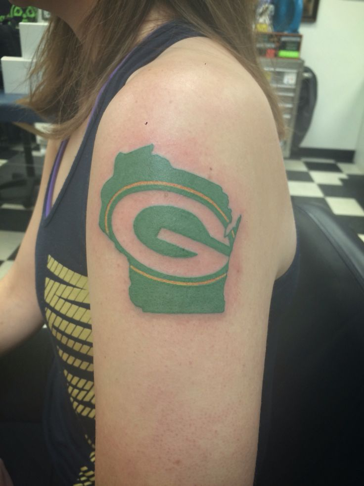 Packers tattoo from Ken at Sonic Tattoos in Green Bay #packers #greenbay #tattoo