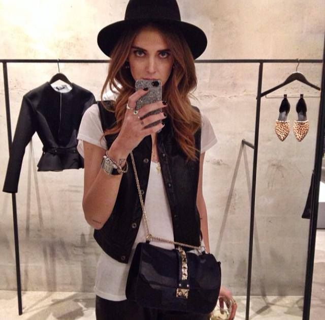 Chiara Ferragni with the Silver Crystal Fabric iPhone Case.  Photo Courtesy of Chiara Ferragni.