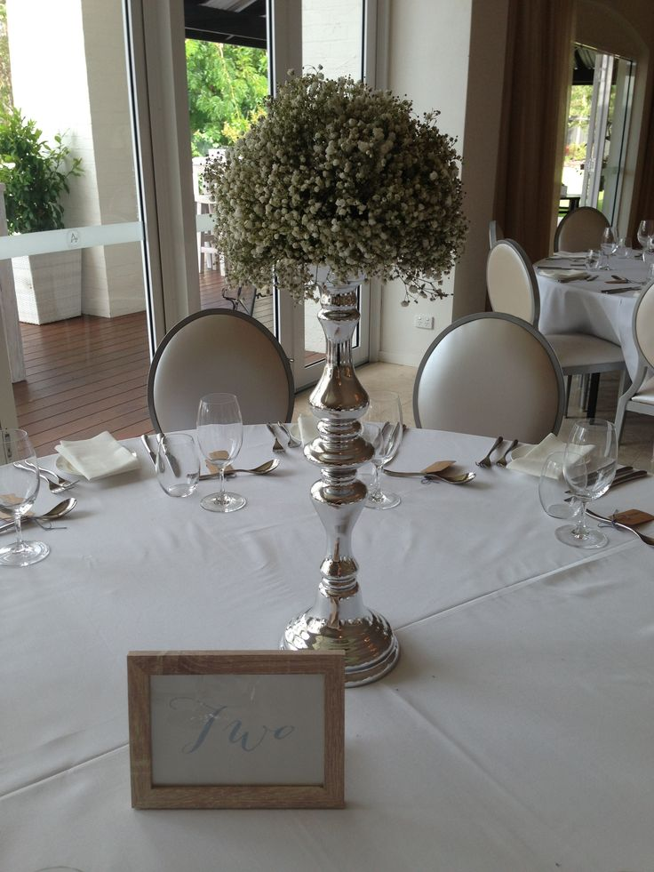 Baby's breath pomander candlestick table arrangements by Scentiment Flowers