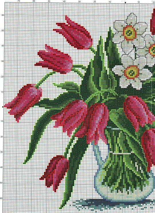 Cross stitch - flowers: tulips and daffodils (free pattern - chart - part 1)