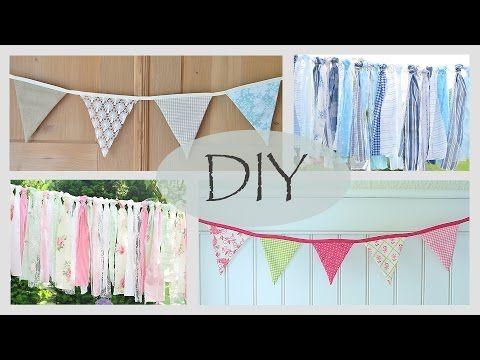 DIY - fröhliche Wimpelkette / romantische Stoffgirlande / sommerliche Dekoidee - YouTube