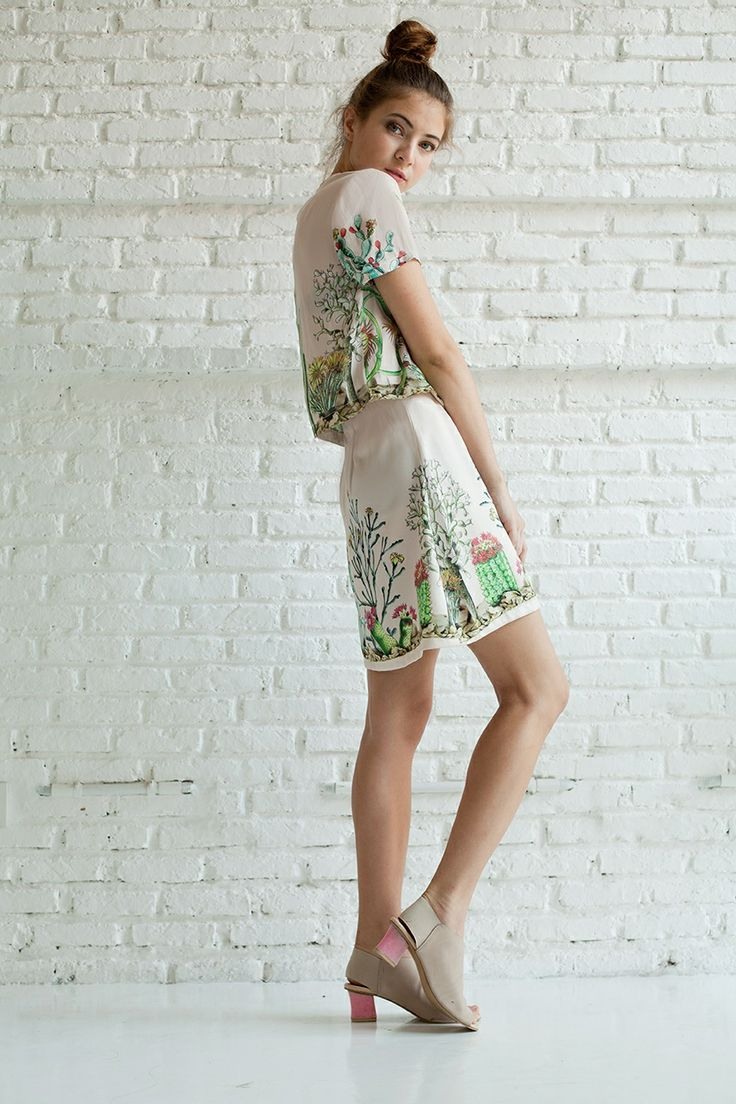 Cacti. Cactus. Blouse and skirt.