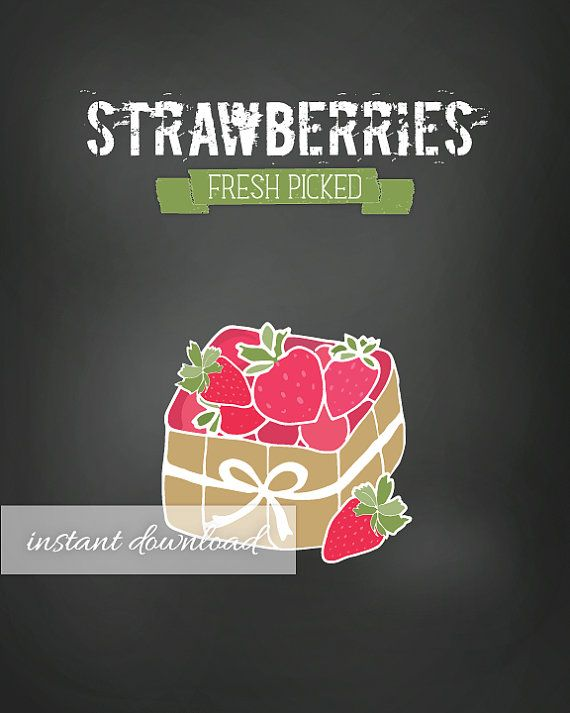 Printable Fruit Signs / Strawberries / Pineapple / Watermelon / Chalkboard back ground