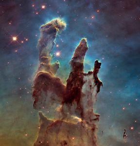 Cliché en haute définition des Piliers de la Création, un détail de la nébuleuse de l'Aigle dans l'amas M16. Cette photographie d'une incroyable précision a été prise par le télescope spatial Hubble le 5 Janvier 2015. Crédits: NASA