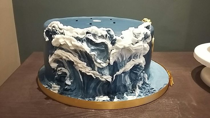 Rough sea waves royal navy cake, navy blue, sculptured waves. Tier 1 of 2 by Rockylicious Cakes  (Danielle Smith )