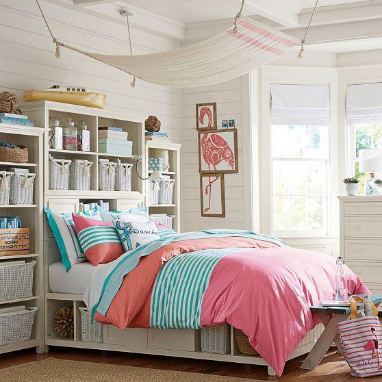 Nantucket Bedroom Design Ideas: Nantucket Stripe Duvet Cover + Sham, Pink/Coral // We Love