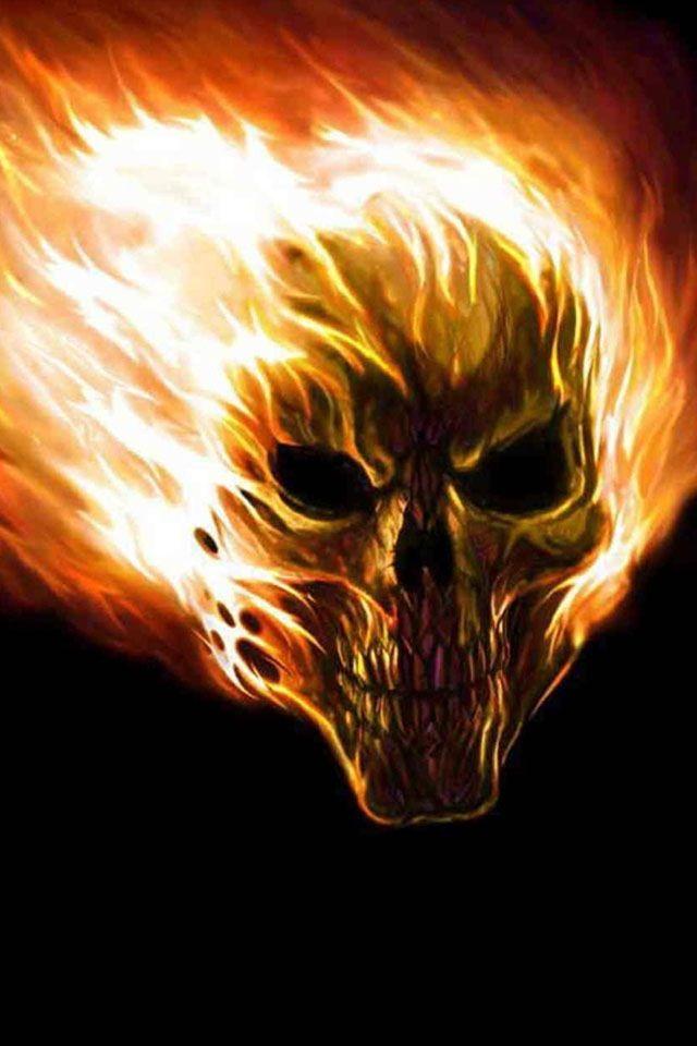 Flaming Demon Skull Wallpaper