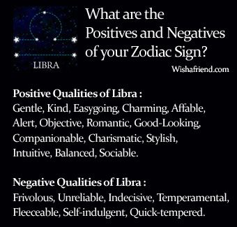 Find Positives and Negatives of your Zodiac Sign- Libra Positive Qualities of Libra -  Gentle, Kind, Easygoing, Charming, Affable, Alert, Objective, Romantic, Good-Looking, Companionable, Charismatic, Stylish, Intuitive, Balanced, Sociable. Negative Qualities of Libra -  Frivolous, Unreliable, Indecisive, Temperamental, Fleeceable, Self-indulgent, Quick-tempered.