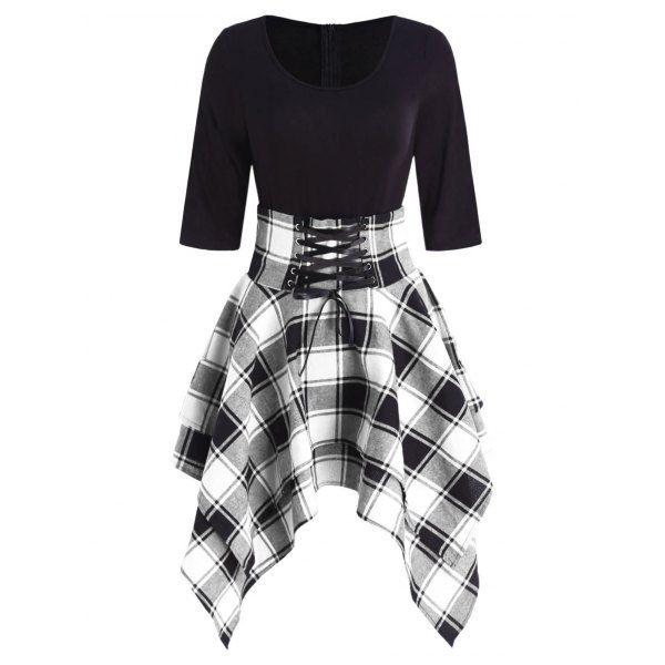 Lace Up Tartan Asymmetrical Dress – Black L Mobile
