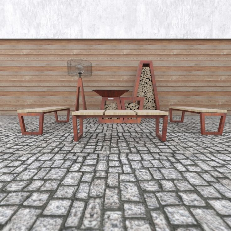 Bench  3-person metal bench with wooden seats.
