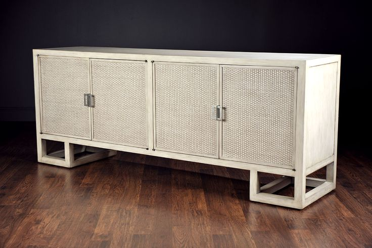 Woven Cane Buffet Credenza Low Asian Inspired Woven Cane Four Door Credenza Buffet with Interior Shelves and Wine Storage Corner Geometric Wood Bases No Custom Sizes Available Available in Grey Wash, Light Brown or Dark Brown