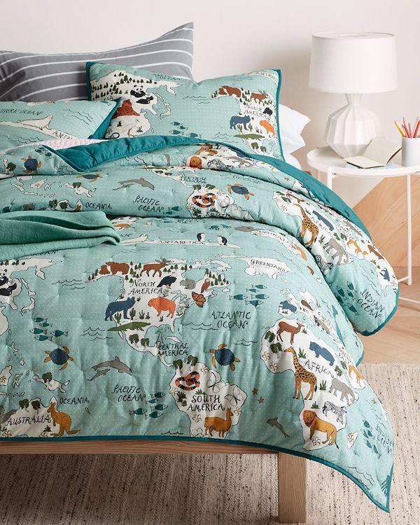 Map Quilt And Sham Garnet Hill Map Quilt Map Bedding Queen Size Bed Sets