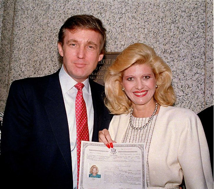 Donald Trump and his wife, Ivana, pose outside the federal courthouse in New York after she was sworn in as a United States citizen, May 1988.