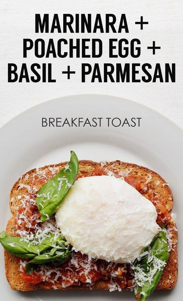 Marinara Sauce + Poached Egg + Parmesan + Basil | 21 Ideas For Energy-Boosting Breakfast Toasts