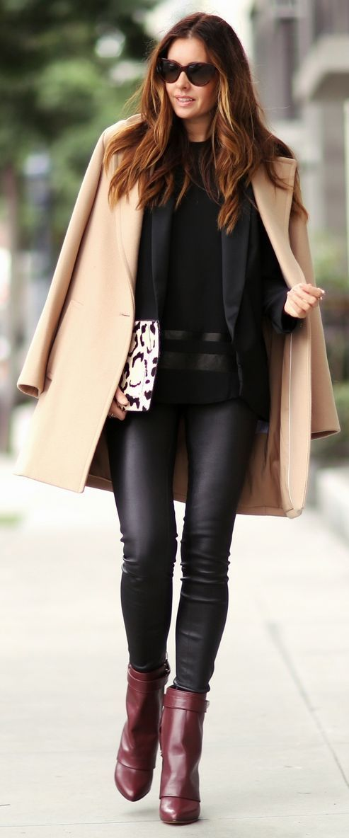 #street #fashion fall / beige coat + burgundy leather booties