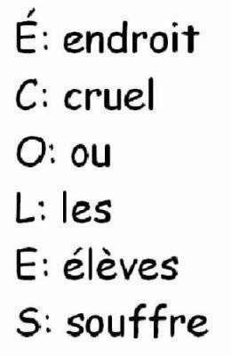"""petit message cacher dans le mot """"école"""" ^^"""