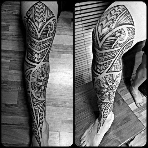 Full Leg Sleeve Guys Tribal Tattoo Designs