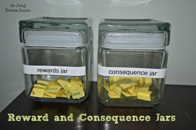 "Reward and Consequence Jars (including a slip of paper for ""grace"" in the consequence jar).  By de Jong Dream House."