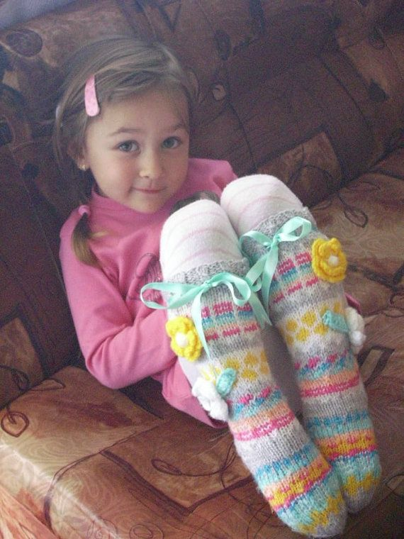 Knee Socks Knit Knee High Socks for girls Gift for by KateNikolova