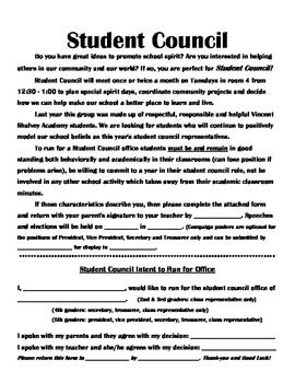 Complete Student Council Forms Packet