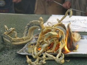 Make a Pharaoh's Snake Firework (Safely): Pharaoh's snakes are a type of firework in which a lighted tablet exudes smoke and ash in a form sinuous form that resembles a snake. The original formulation for pharoah's snakes is toxic so the firework is only made as a chemistry demonstration.
