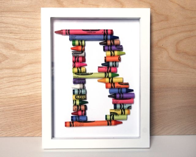 letter made of crayons