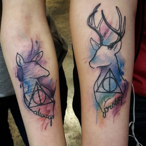 Harry Potter deer tattoo to start the year! :) I want to do more stuff like…