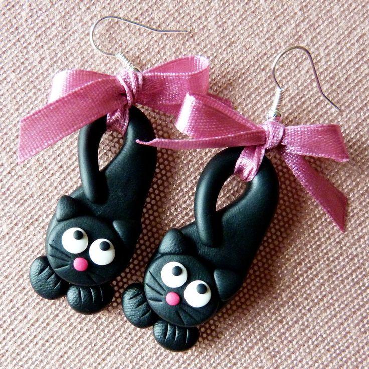 Boucles d'oreilles chat noir en fimo - inspiration
