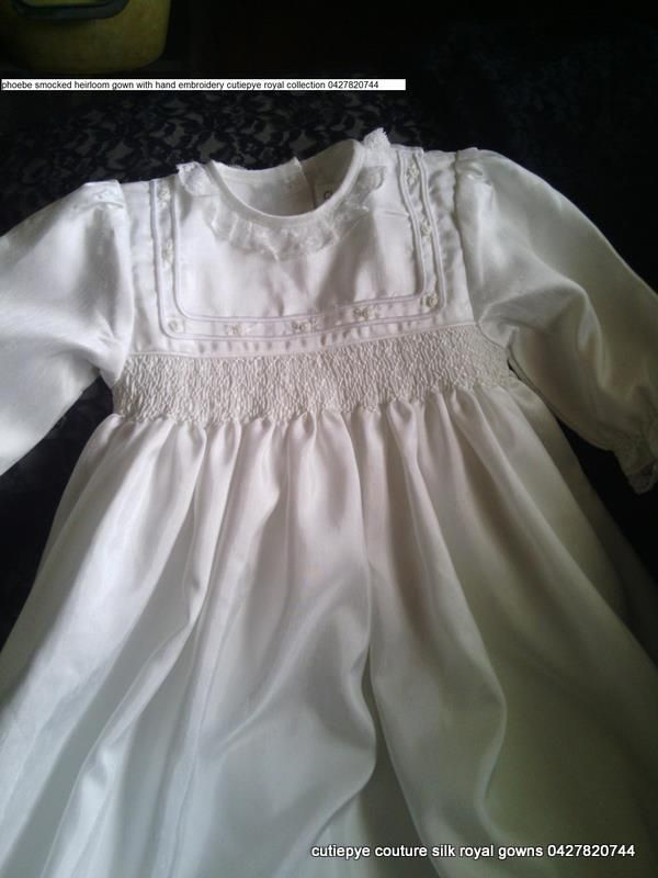cutiepye princess pheobe silk gown $300 include hat and bib 0427820744